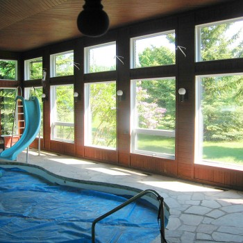 Custom windows for pool house
